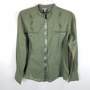The North Face blouse olive green button front L